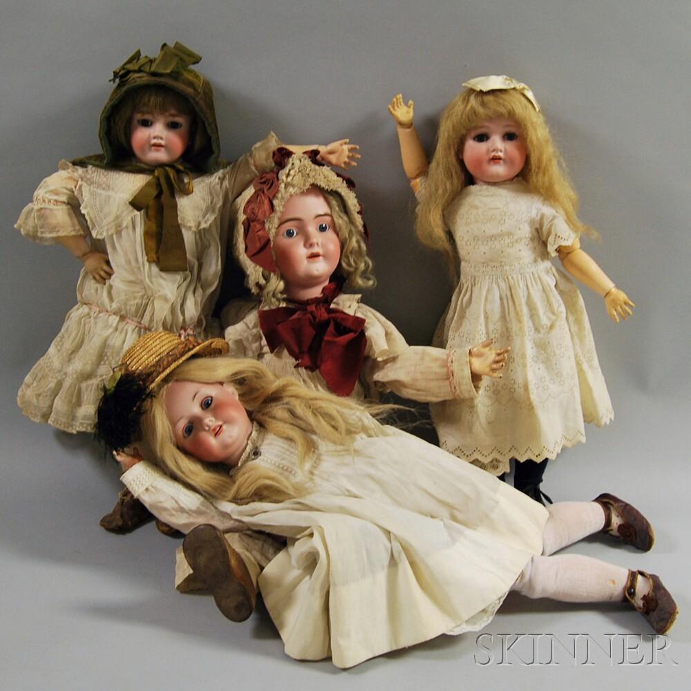 Four Large German Bisque Head Dolls