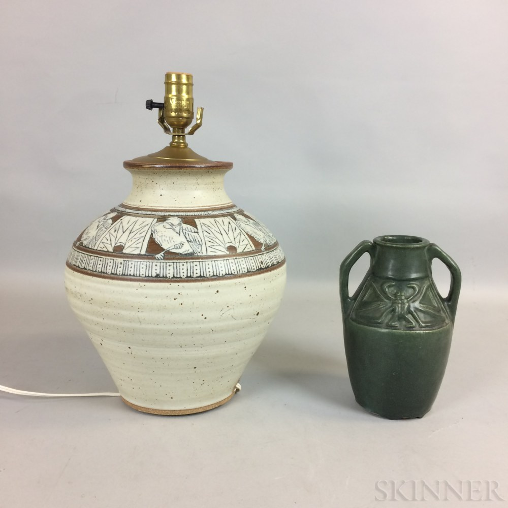 Arts and Crafts Matte Green-glazed Pottery Vase and an Art Pottery Lamp
