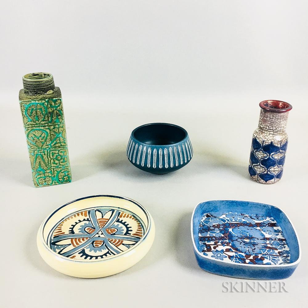 Five Danish Modern Studio Pottery Items