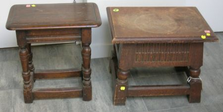 Two Jacobean-style Carved Oak Joint Stools