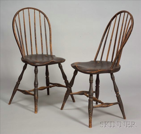 Pair Brown-painted Windsor Side Chairs