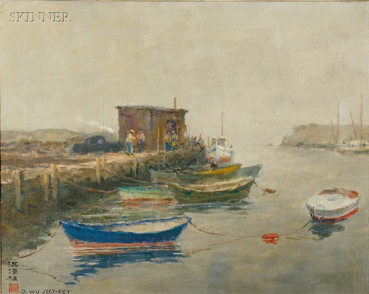 David Wu Ject-Key (Chinese/American, 1890-1968)      Dockside Scene