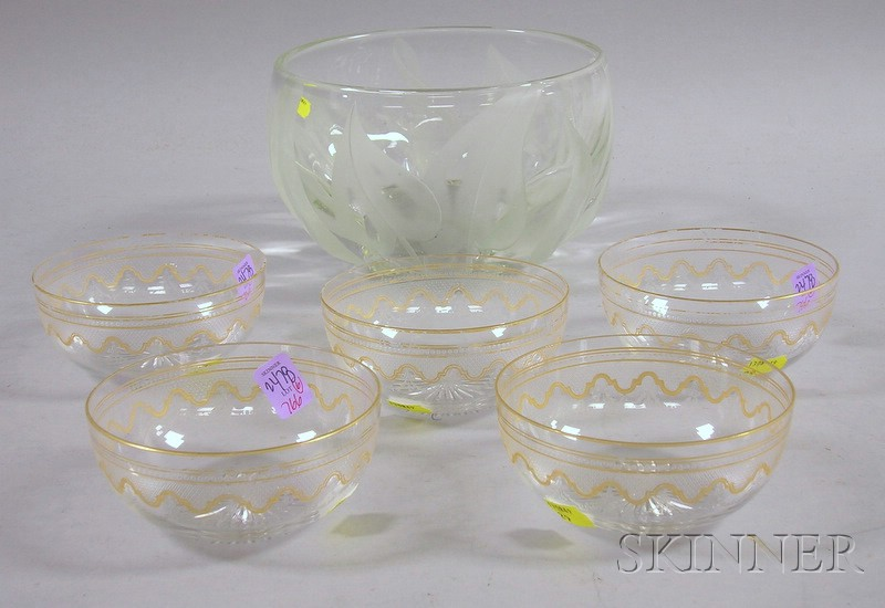 Grosz Etched Colorless Art Glass Bowl and a Set of Five Gilt and Etched Glass Berry Bowls.