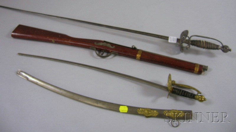 Two Toy Weapons and a Spanish-style Steel Sword