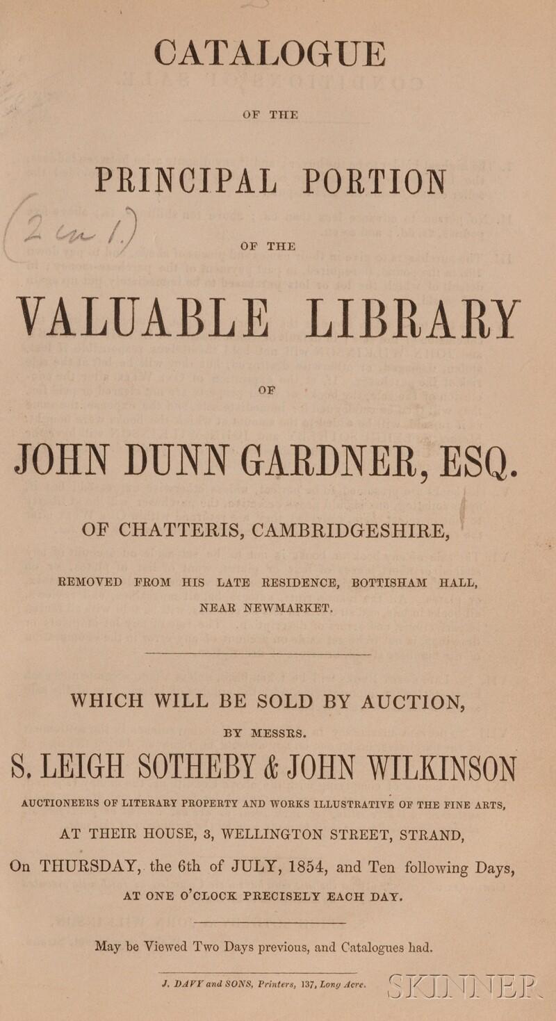 (Library Sale Catalog), Gardner, John Dunn