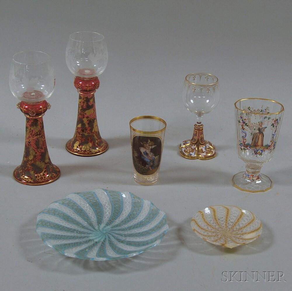 Seven Pieces of European Glass