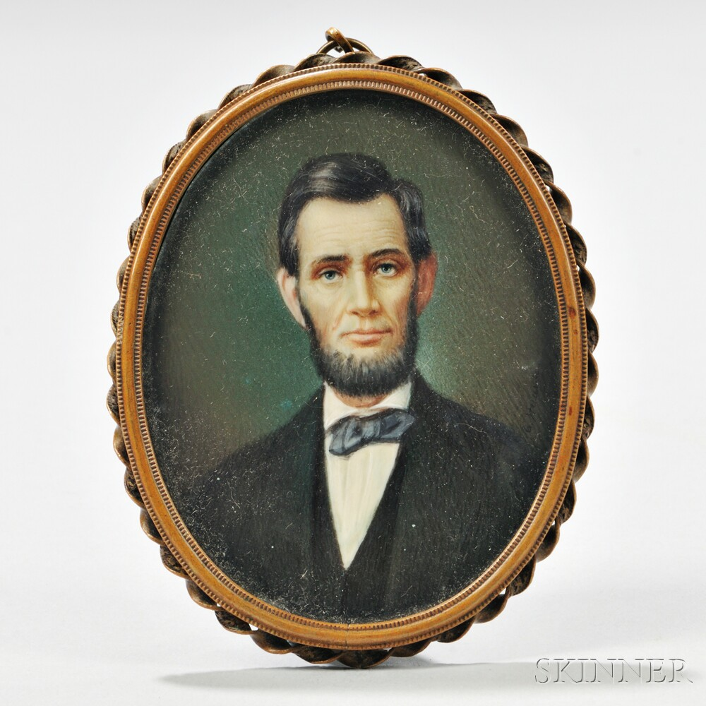 Miniature Portrait on Ivory of Abraham Lincoln