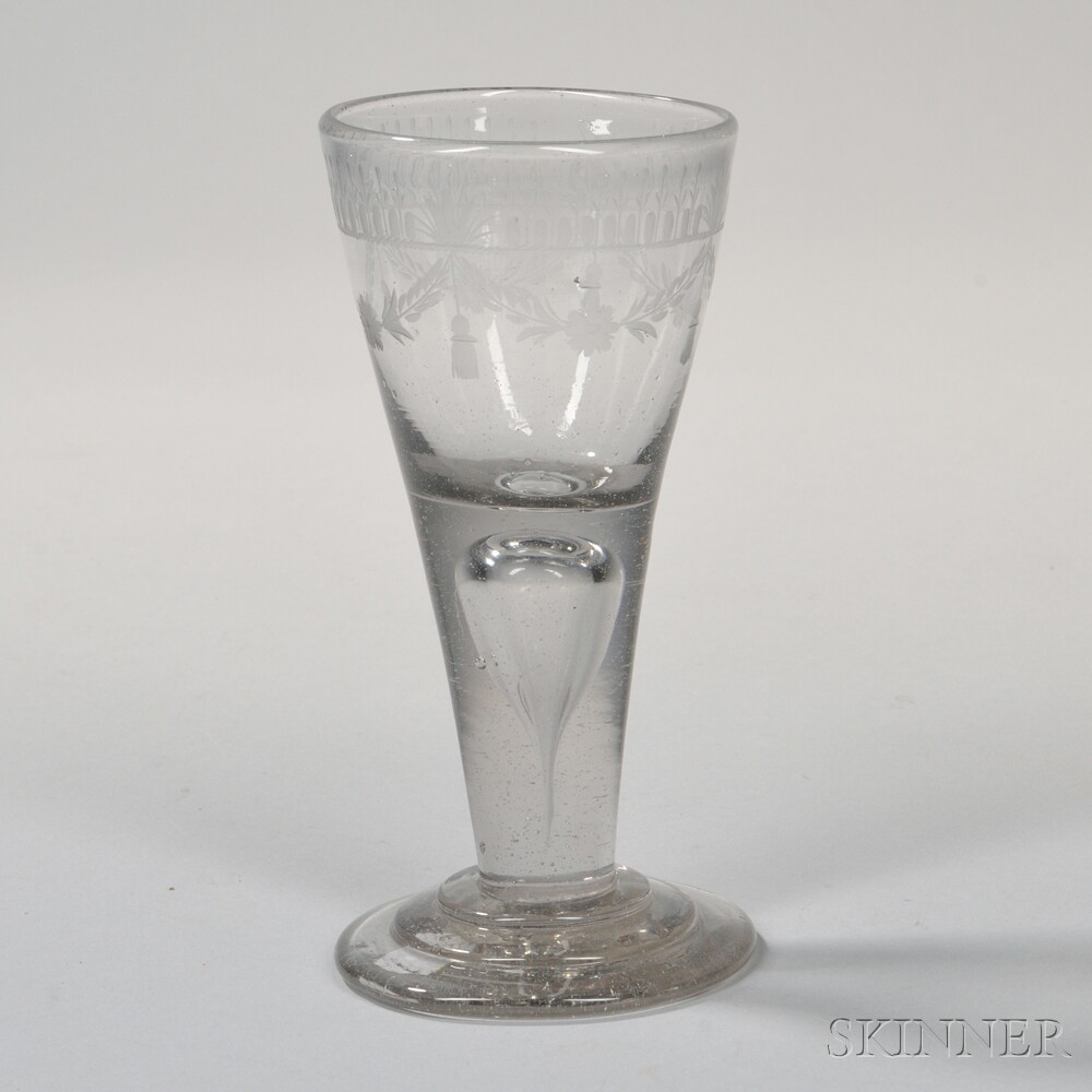 Large Etched Glass Goblet