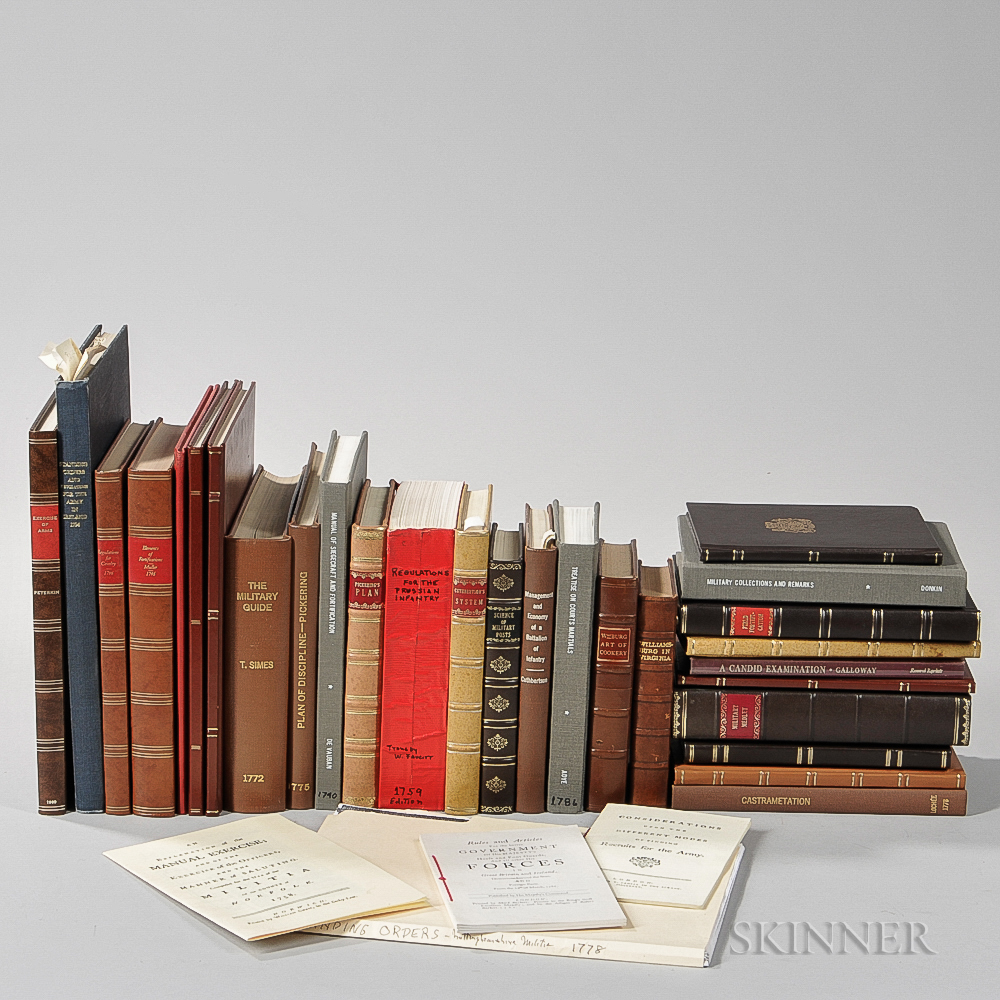 Large Collection of Facsimile 18th Century Military Manuals and Related Books