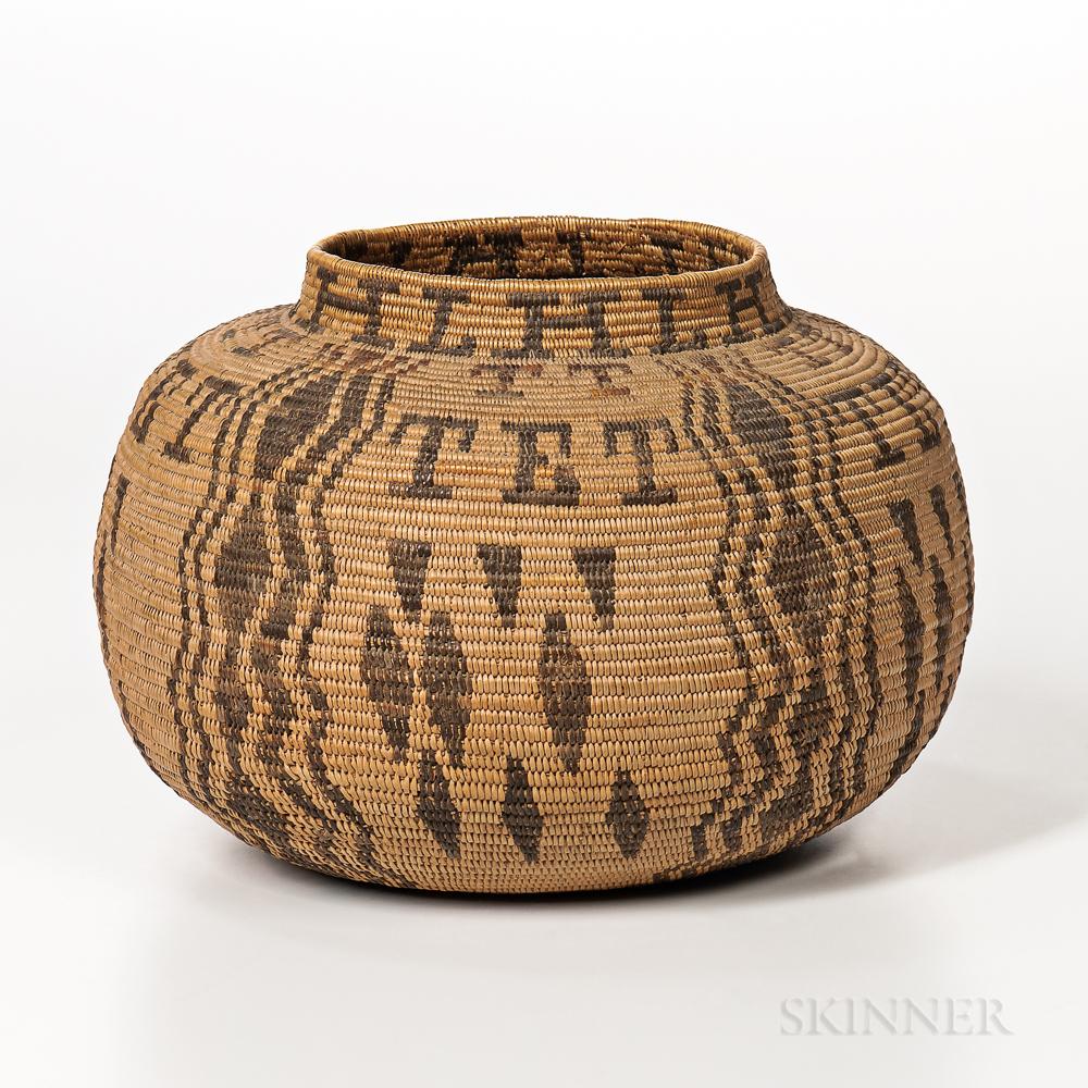 Southern California Polychrome Basketry Jar