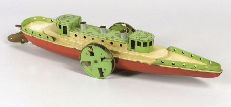 Buffalo Toys Lithographed Steel Side Wheeler
