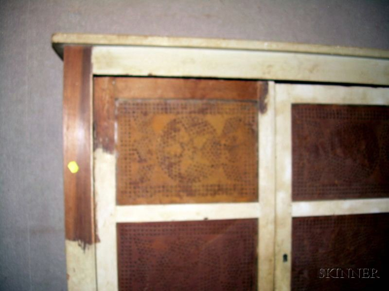 Painted Wood and Punched Tin Four-Door Pie Safe
