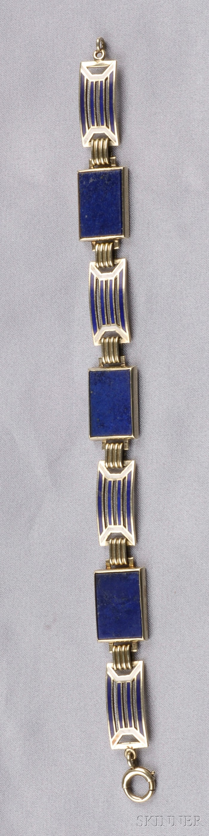 Art Deco 14kt Gold, Enamel, and Lapis Bracelet, Wordley, Allsopp & Bliss