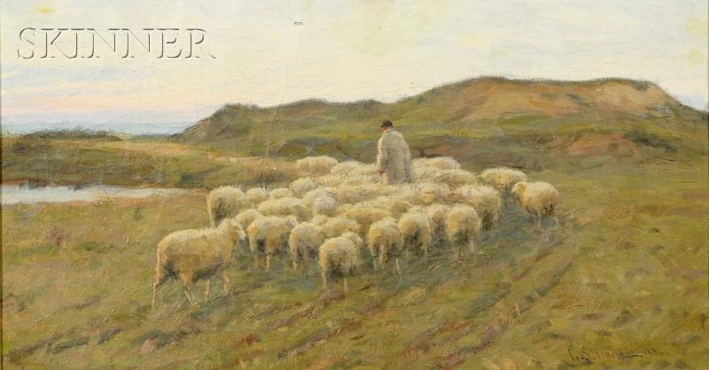 Gaylord Sangston Truesdell  (American, 1850-1899)      Shepherd with his Flock