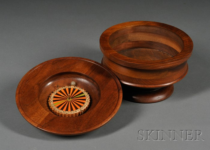 Turned Walnut Portable Roulette Game