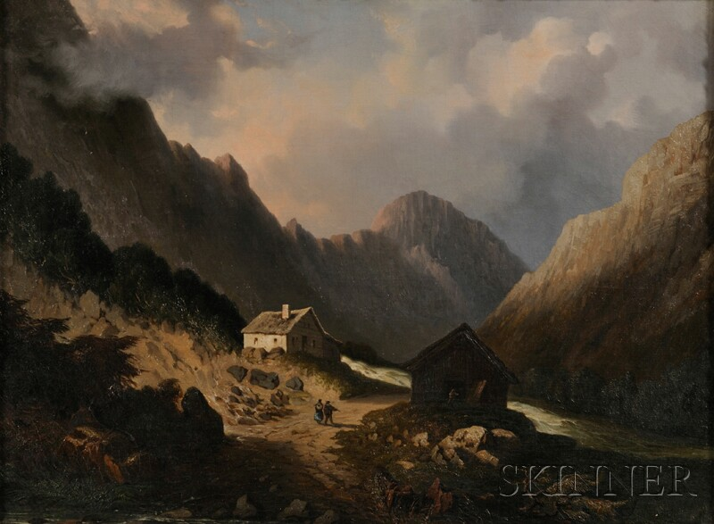 Attributed to Paul Gottlieb Weber (German/American, 1823-1916)      Cottage and Barn by a Mountain Stream.