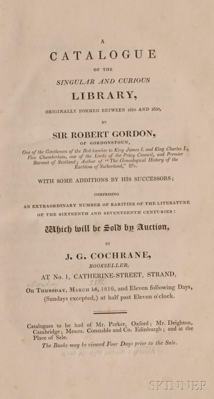 (Library Sale Catalog), Gordon, Sir Robert
