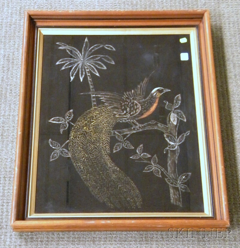 19th/20th Century Oil on Fabric Depicting a Tropical Bird