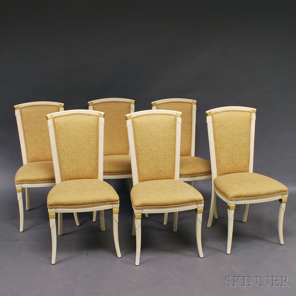 Set Of Six Dorothy Draper Style Upholstered And Painted Dining Chairs