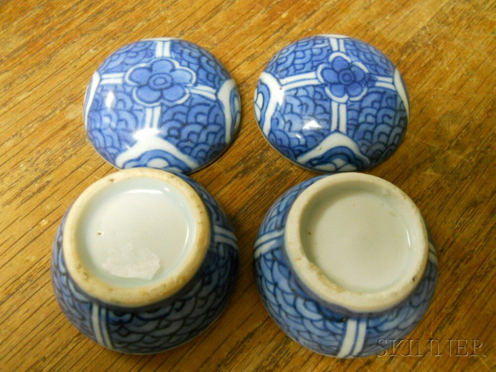 Four Blue and White Items