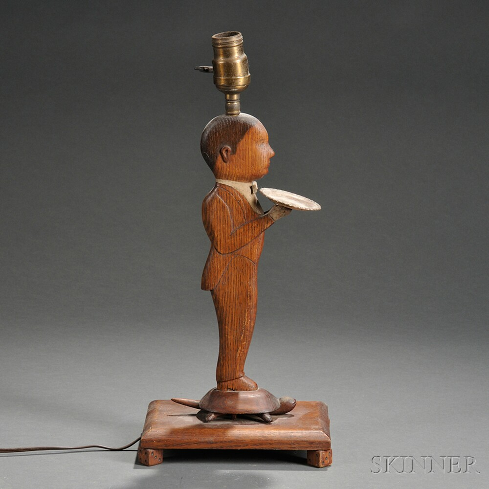 Carved Oak Figural Lamp