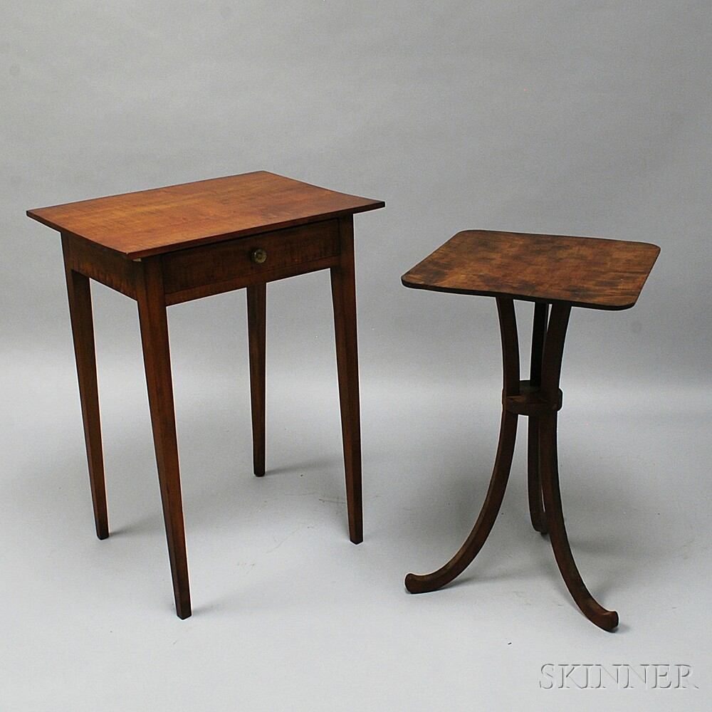 Two Pieces of Tiger Maple Furniture