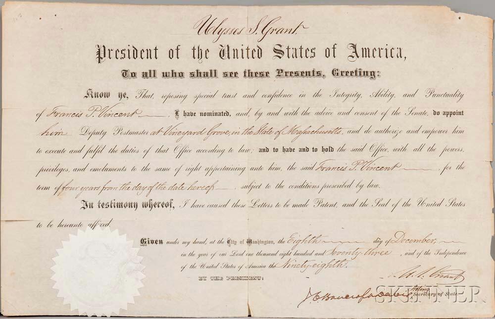 Grant, Ulysses (1822-1885) Document Signed, 8 December 1873.