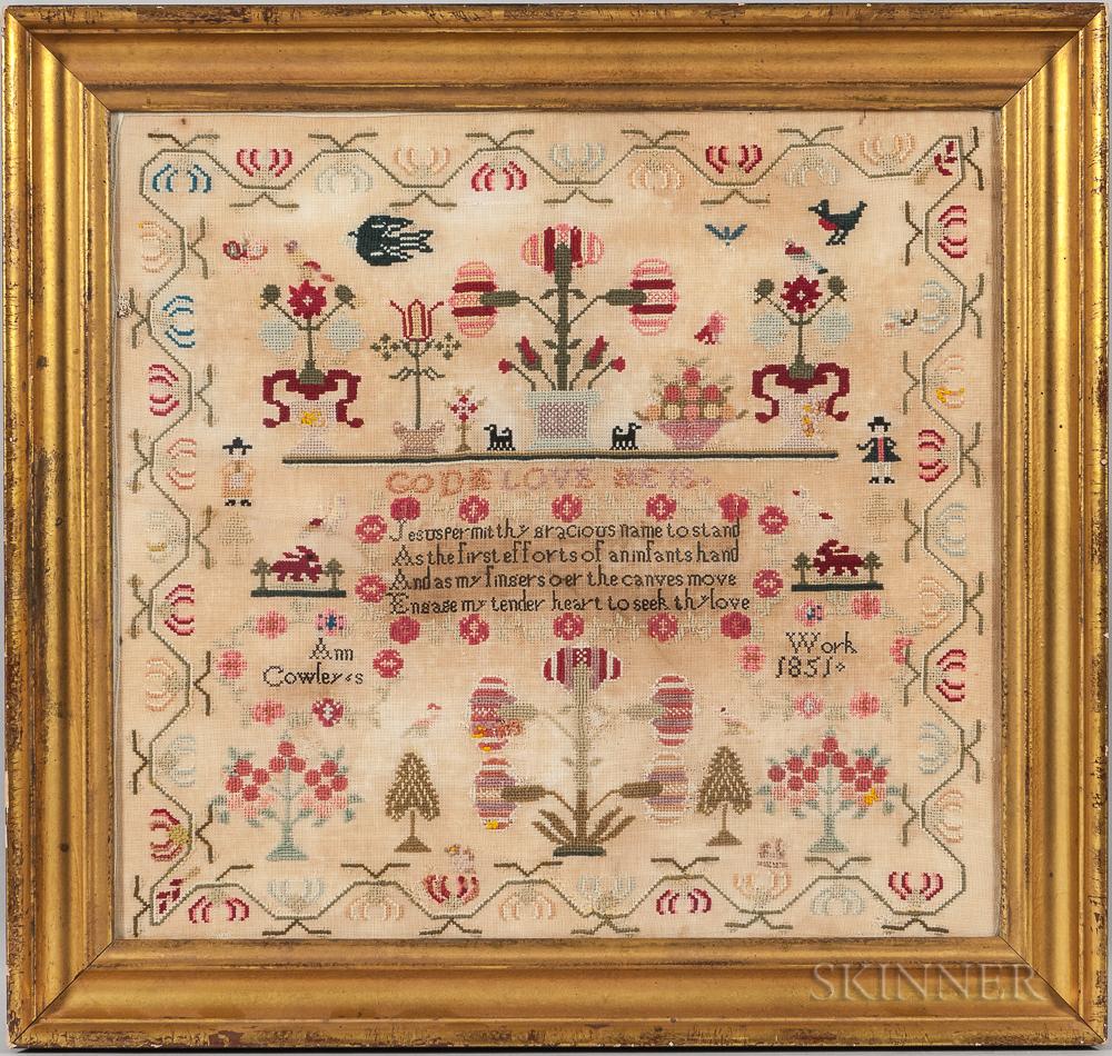 """Large Framed Needlework Sampler """"Ann Cowley,"""""""