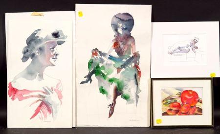 Rose Wasserman (American, 20th Century)   Three Figural Studies and a Still Life