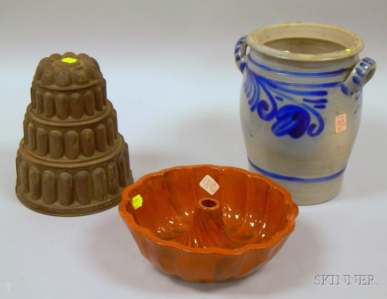 Tiered Tin Food Mold, a Redware Food Mold, and a Cobalt Floral Decorated Stoneware Jar.