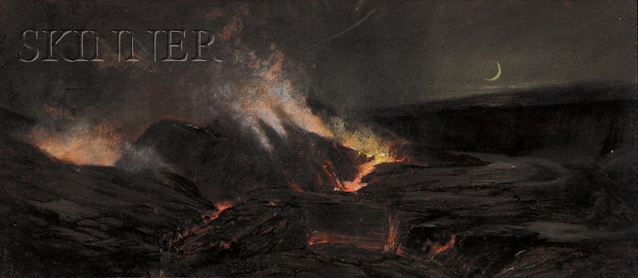 Charles Furneaux (American, 1835-1913)      View of a Volcanic Eruption, Probably Kilauea Caldera on Mauna Loa