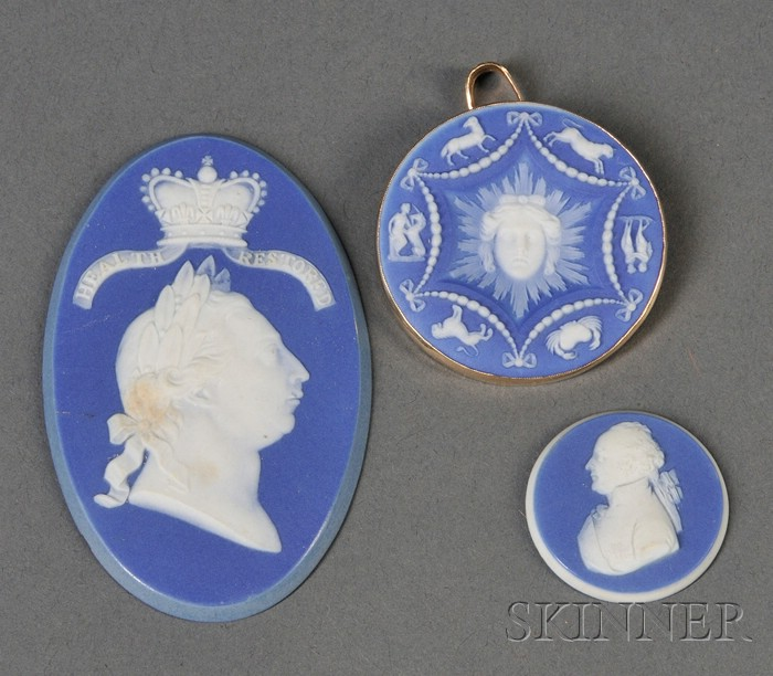 Three Wedgwood Dark Blue Jasper Medallions