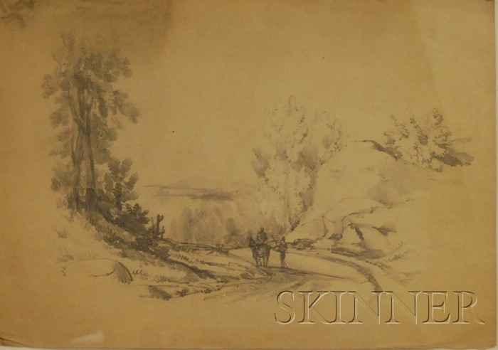 Lot of Four Pencil Drawings by Edward Seager (American, 1809-1886) Fairlie Rock X Church Vt, Hillside Landscape with Trees and Goats, T