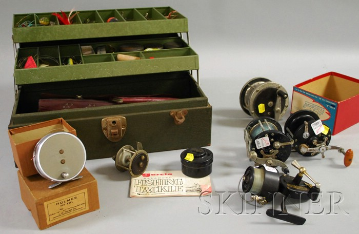 Group of Vintage Fishing Reels and a Tackle Box with Lures, Etc.