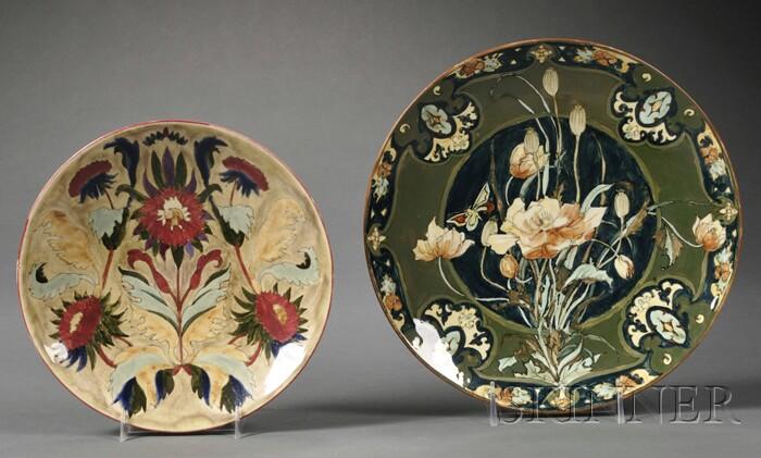 Two Rozenburg High Glaze Pottery Wall Plates