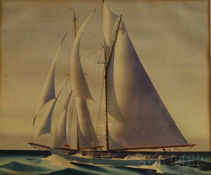 Sandor Bernath (American, 1892-1984)      Ship in Full Sail