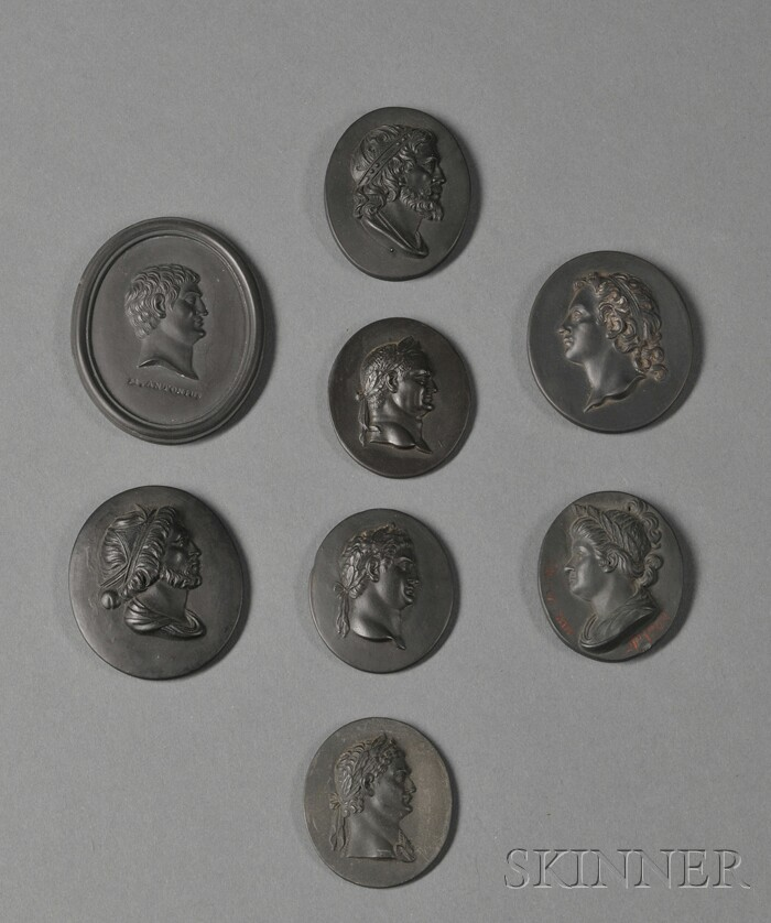 Eight Wedgwood Black Basalt Oval Portrait Medallions