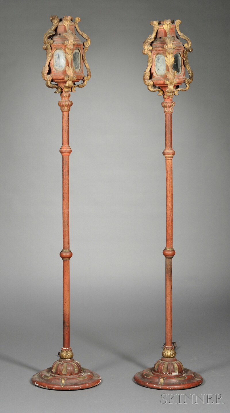 Pair of Painted and Parcel-gilt Torchieres