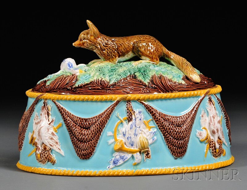 George Jones Majolica Game Pie Dish and Cover