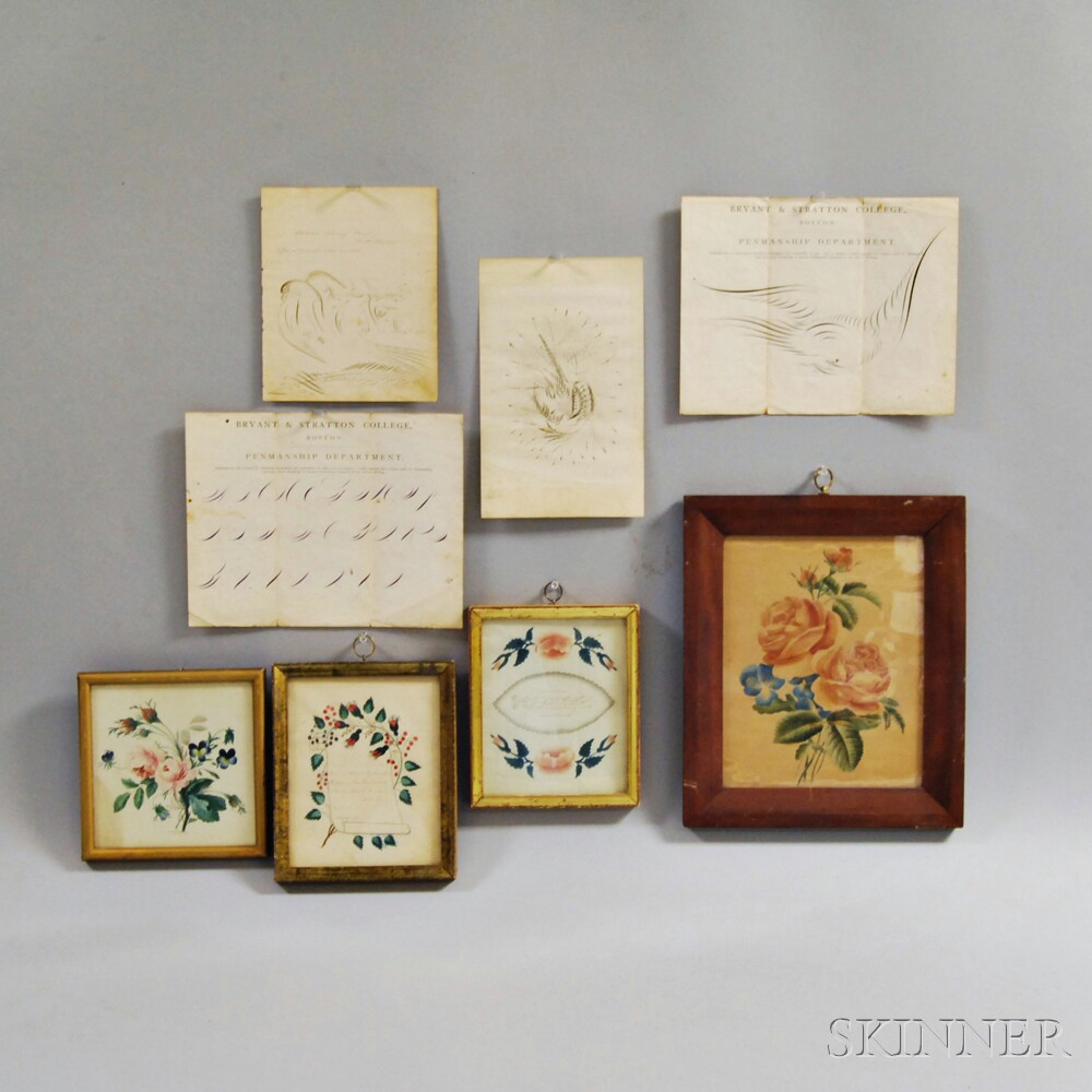 Four Framed Watercolors and Four Calligraphic Exercises