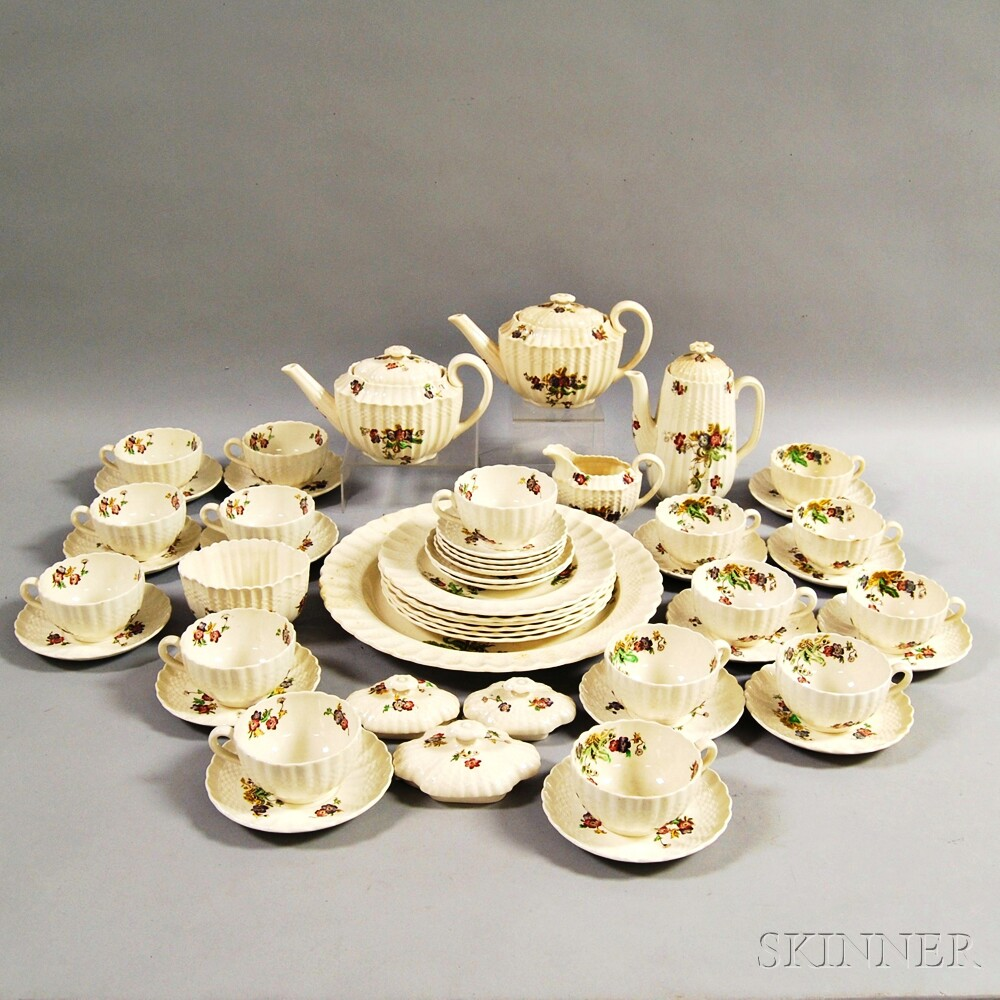 "Approximately Fifty Pieces of Copeland Spode ""Wicker Lane"" Dinnerware.     Estimate $200-300"