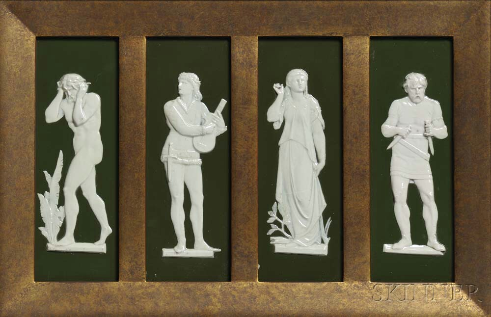 Wedgwood Green Glazed Bas-relief Plaques