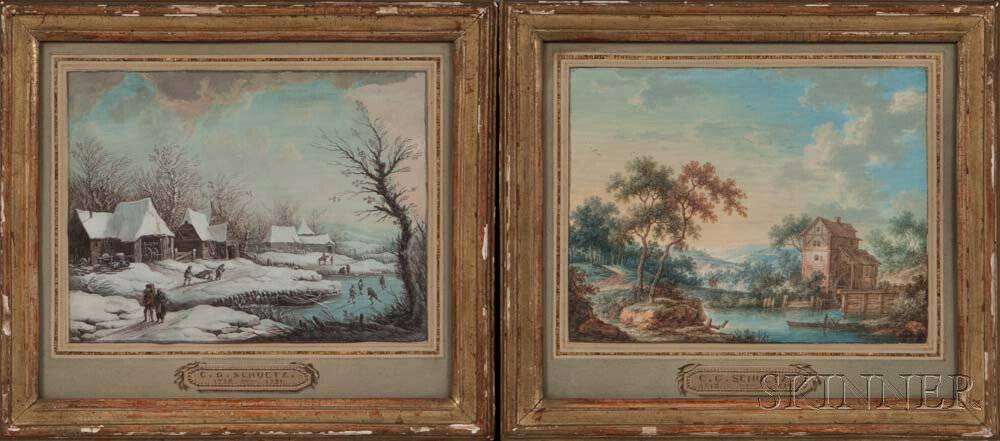 Attributed to Christian Georg Schütz the Elder (German, 1718-1791)      Two Landscapes:  Summer View with Mill
