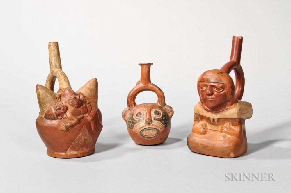 Three Moche Stirrup-spout Painted Pottery Vessels