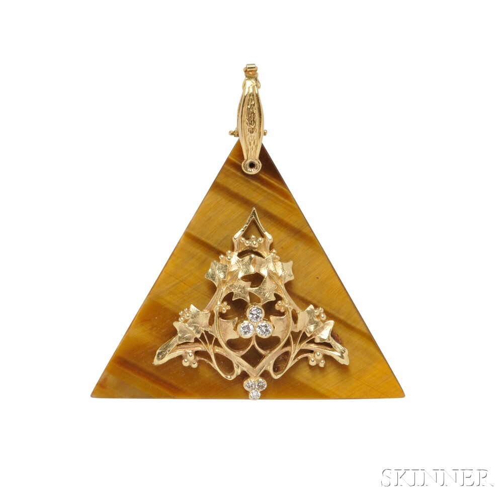14kt Gold and Tiger's-eye Quartz Pendant