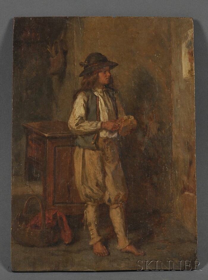 Continental School, 19th Century      Standing Figure in an Interior