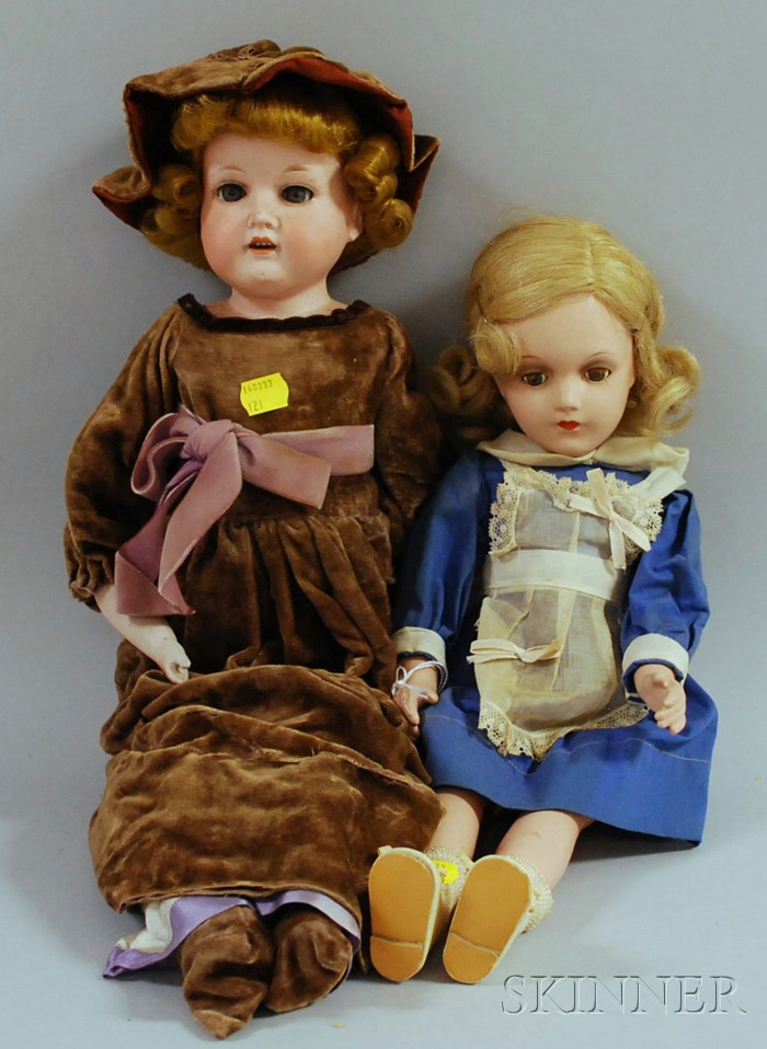 Armand Marseille Bisque Shoulder Head Doll and a Composition Doll