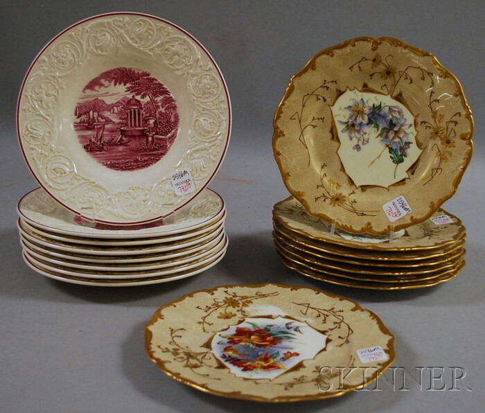 Set of Eight Brown, Westhead, Moore and Co. Gilt and Hand-painted Floral-decorated Porcelain Plates and a Set of Eight Wedgwood Quee...
