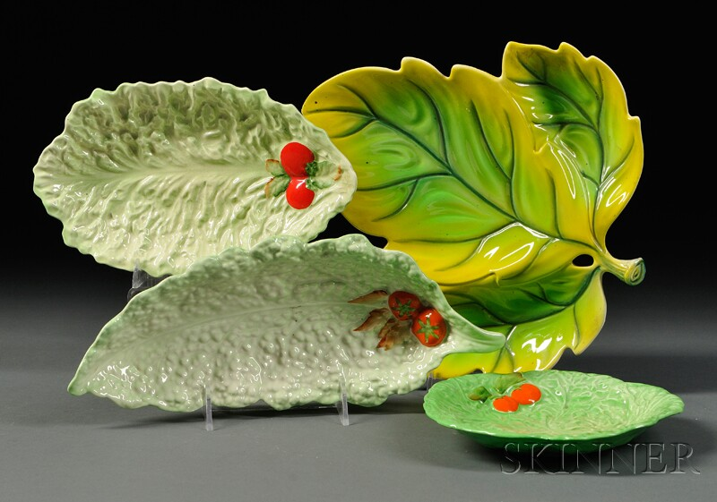 Four Carlton Ware Leaf Dishes