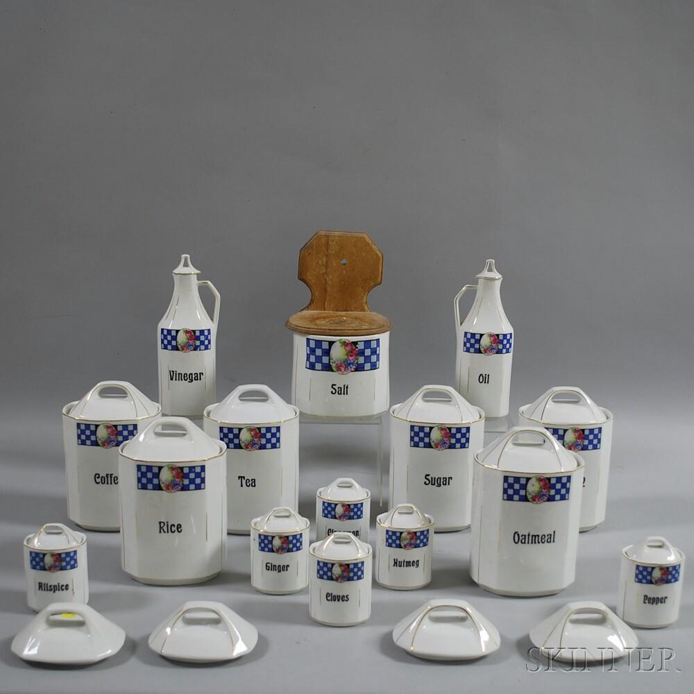 German Porcelain Covered Kitchen Jar Set